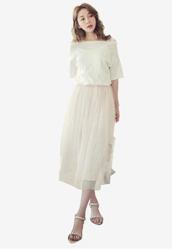 Eyescream pink Off Shoulder Tulle Dress F008BAA18EA544GS_1