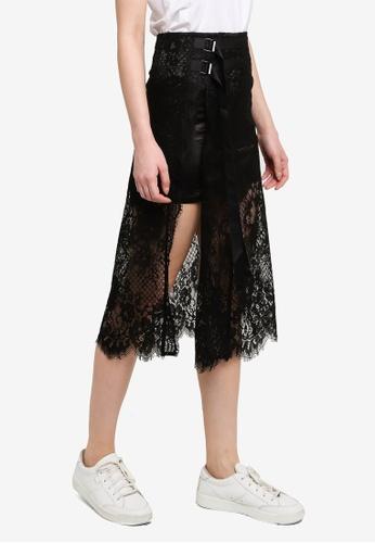 Hopeshow black Midi Skirt With Long Lace Mesh 8C808AA140C389GS_1