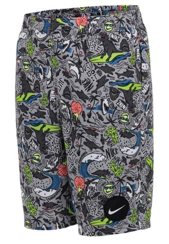 "Nike grey Nike Swim Boy's Shark Party Lap 8"" Volley Short 86719US95037C8GS_1"