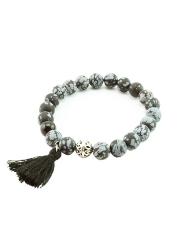 Memento Collection black Ladies Tassel Detailed Snow Obsidian Bracelet ME060AC27XBCMY_1