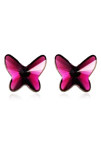 OUXI red and purple OUXI Butterfly Earrings 20687 (Magenta) OU821AC28ECTMY_1