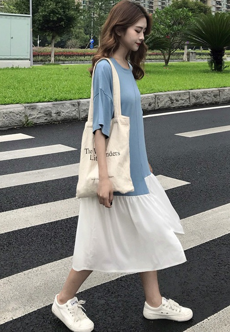 Blue 2018 One New Loose Cutting Piece Sunnydaysweety CA062903BL Dress 48O4Pqn