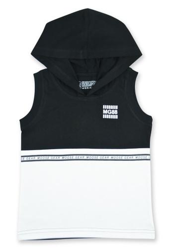 Moose Gear black and white Boys Muscle Shirt With Hood with Print E4214KA3AF1A54GS_1