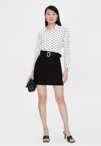 Pomelo black Rectangle Buckle A Line Skirt - Black 21DF3AA567E511GS_1
