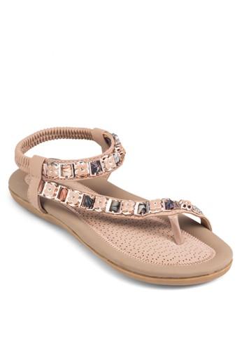 花朵裝飾彈性踝帶涼zalora退貨鞋, 女鞋, 鞋