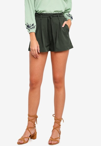 ZALORA brown Tailored Paper Bag Shorts 8393FAAA8C0F00GS_1