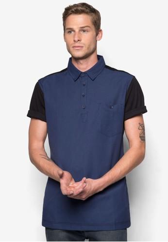 撞色拼接短袖襯衫, 服飾,zalora鞋子評價 Polo衫