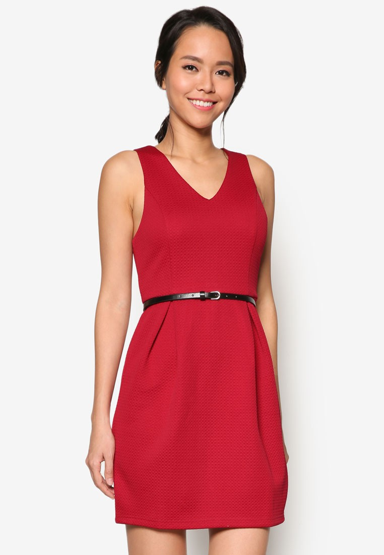 Collection V Neck Fit And Flare Dress