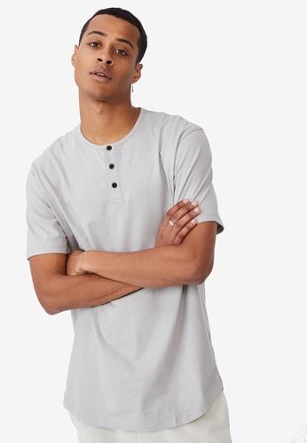 Cotton On grey Longline Scoop Henley T-Shirt 15DFAAA34BB984GS_1