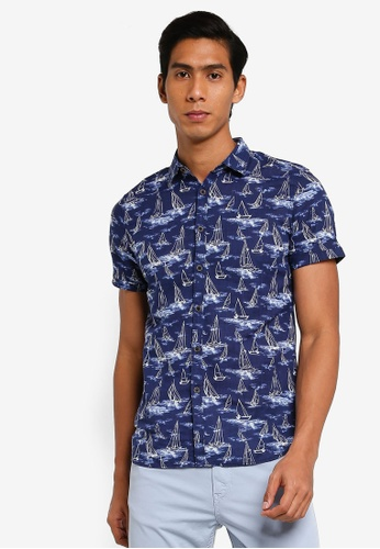 LC Waikiki navy Figured Short Sleeve Shirt D0809AAA17129FGS_1