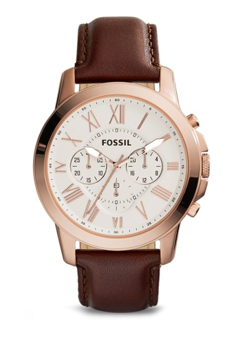 7d9e3883821f5 Fossil brown Fossil Grant Chronograph Leather Watch FS4991 FO164AC09LQWMY 1