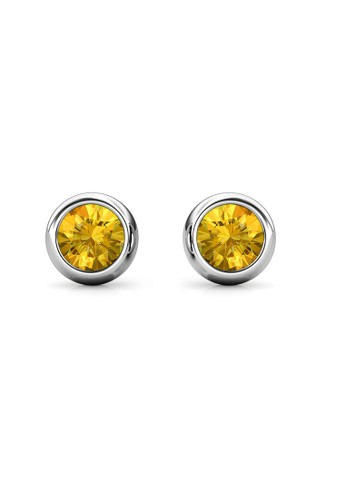 Her Jewellery yellow and silver Birth Stone Moon Earring November Citrine WG - Anting Crystal Swarovski by Her Jewellery 352C1AC1D3FC50GS_1
