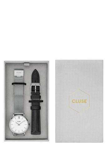 CLUSE silver Minuit Mesh, Silver, White & Black Strap Gift Box 1EB39AC6BFF3EEGS_1