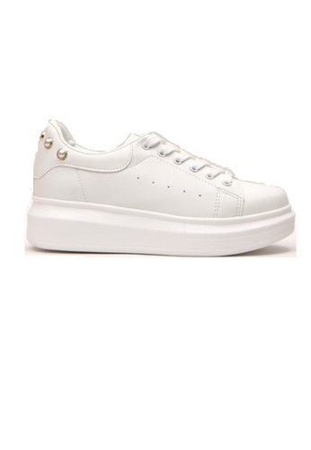 Crystal Korea Fashion white Korean Made Pearls Casual White Shoes 9330DSHF4866ADGS_1