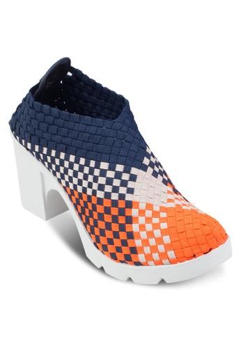 彩色格紋高esprit專櫃筒粗跟運動鞋, 女鞋, 中跟