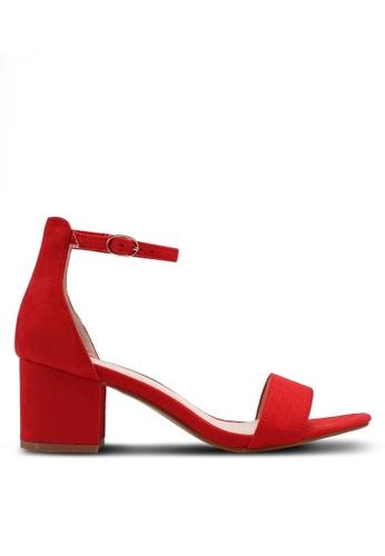 Nose 紅色 麂皮一字帶繞踝粗跟涼鞋 BF77BSH6696D10GS_1