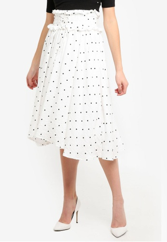 LOST INK white Polka Dot Lace Up Detail Midi Skirt 88CF9AA3E689FEGS_1