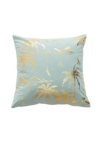 DILAS HOME Palm Tree Gold Print Cushion Cover (Light blue) B1370HL1A22F0AGS_1