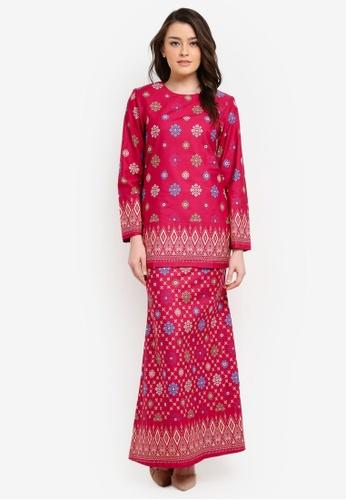 Butik Sireh Pinang pink Aiinia Cotton Short Modern Kurung with Songket Print BU003AA0S26EMY_1