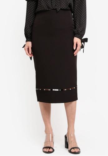 Dorothy Perkins black Pearl Hem Pencil Skirt DO816AA0SRD8MY_1