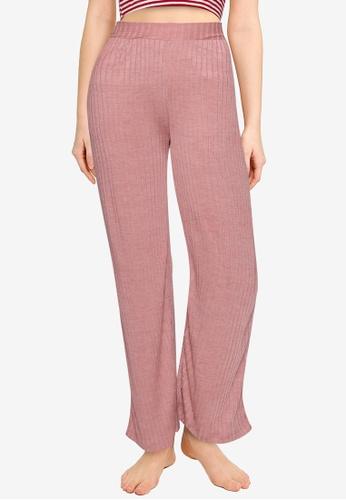 MISSGUIDED pink Rib Mix And Match Lounge Wide Leg Pants DA817AAD75C8C0GS_1
