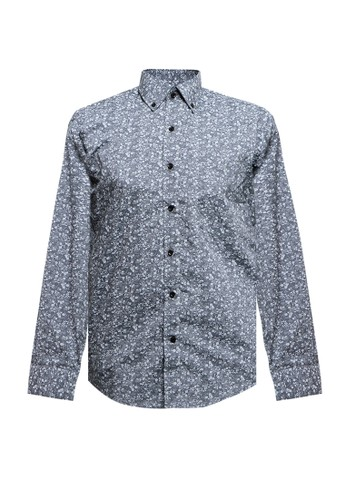 Gianni Visentin grey Cotton Small Floral Print,Slim Buttoned Down Shirt F22C4AA74151F2GS_1