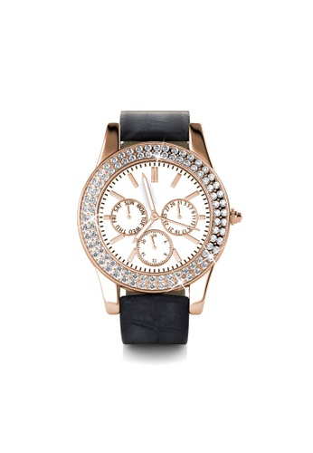Her Jewellery black Sonia Leather Watch (Black, Rose Gold)  - Made with premium grade crystals from Austria 28BD3ACA90736FGS_1