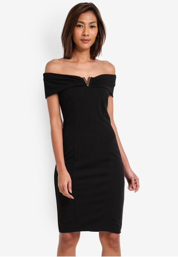 Goddiva black Bardot Midi Dress With Metal Detail GO975AA0SSBZMY_1