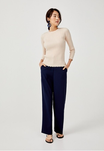 Love, Bonito beige Analia Scallop Hem Knit Sweater C565AAAF7C6C12GS_1