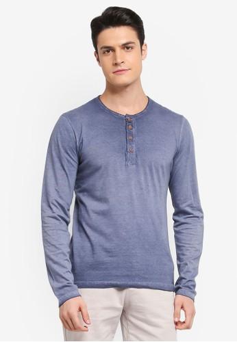 Indicode Jeans navy Johannes Long Sleeve Washed Grandad T-Shirt CC4E2AAAA6DA61GS_1