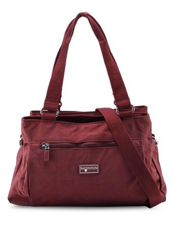 Bagstationz red Crinkled Nylon Shoulder Bag 7CFBFACBEE954AGS_1