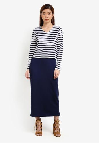 UniqTee navy Contrast Stripe Elastic Maxi Dress UN097AA0S22ZMY_1
