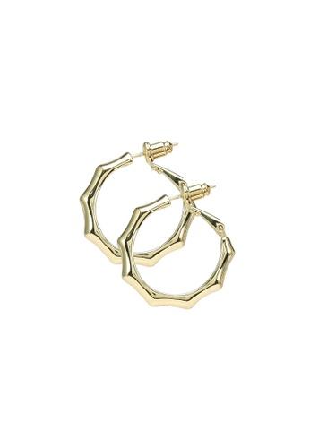 Red's Revenge gold Knuckle Textured Hoop Earrings B8615AC3C4BAF0GS_1
