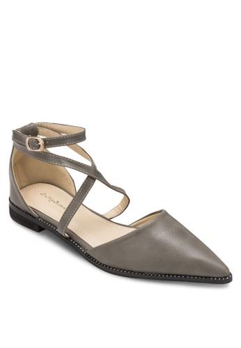 交叉繞踝尖頭平底esprit 雨傘鞋, 女鞋, 鞋