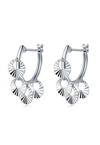 MaBelle silver 14K 585 White Gold Diamond Cut Circle Disc Huggie Hoop Earrings 587F4AC27E9E06GS_1
