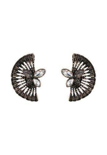 Red's Revenge gold Vintage Fan & Diamonds Stud Statement Earrings RE144AC0SJ58MY_1
