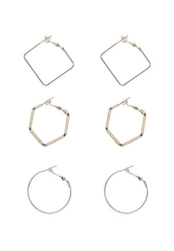 Pieces gold 3 Packs Janne Hoop Earrings 1904FAC1916D1DGS_1