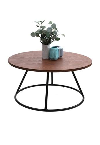 Joy Design Studio Barrel Walnut Top Round Coffee Table with PWC Black Metal Leg 21A65HL2CC034BGS_1