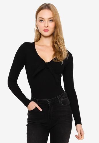 Brave Soul black Long Sleeve Tie Detail Bodysuit 14227AADDA560FGS_1