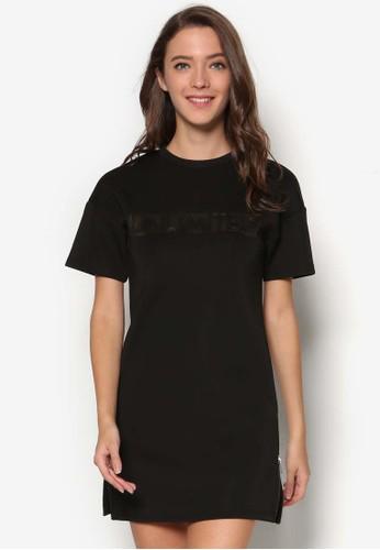 浮雕文字短袖連身裙esprit outlet, 服飾, 洋裝