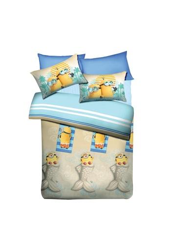 AKEMI blue Akemi Minions Summer Holiday Fitted Sheet Set. 3CA07HL1B56CA6GS_1