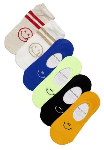 Shu Talk multi 6 pairs Set Mixed Funny Face & HI BYE Korean Style Cotton Boat Socks 0CE39AA51676B5GS_1