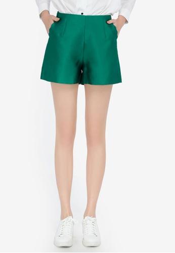 Hopeshow green High Waist Tailored Shorts 5FB95AA3FF93E4GS_1