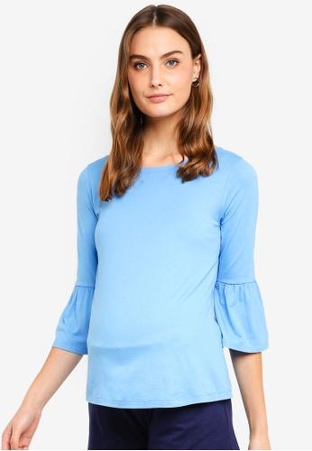 Spring Maternity blue Maternity Long Bell Sleeves Aada Top 7E75EAA58211E2GS_1