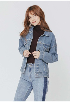 e69250c258f219 H CONNECT blue Patchwork Stitching Denim Jacket BE572AAA01D866GS 1