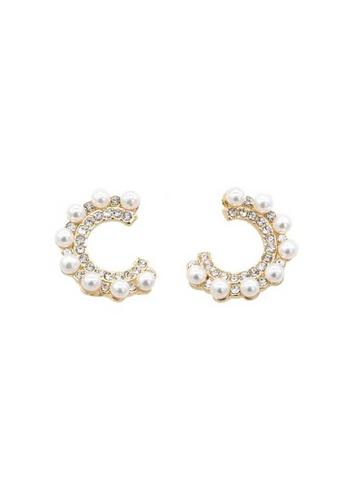 Atrireal gold ATRIREAL - Dawn Half Circle Zirocnia and Pearl Stud Earrings B6942ACEC94F3BGS_1
