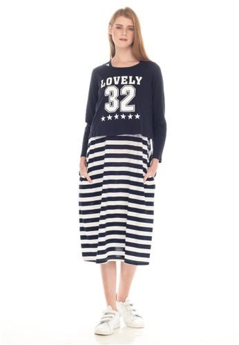 MOOIMOM navy MOOIMOM 32 Long Sleeve Maternity   Nursing Dress Baju Hamil  Menyusui Couple Ibu Anak 8b592bfe75