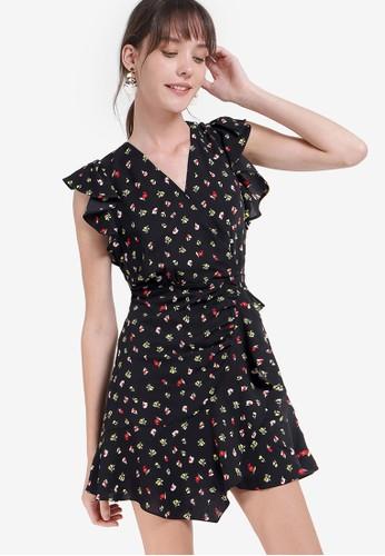 Saturday Club black V-neck A-line Asymmetric Printed Dress FF3B6AAB76C17EGS_1