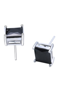 Square Single Stone Stud Earring