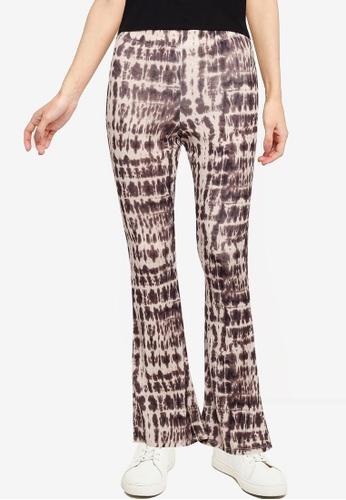 TOPSHOP brown Tie Dye Mesh Flare Pants 8C558AACACBBCFGS_1